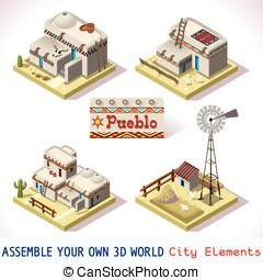 Pueblo Tiles 03 Set Isometric