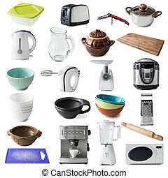 different kinds of kitchen appliances and ware collage -...
