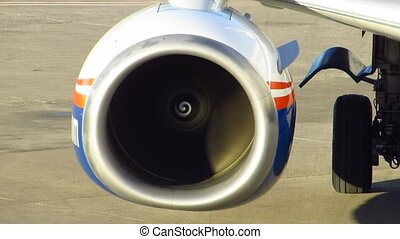 Jet engine - Working Jet engine passenger aircraft Boeing