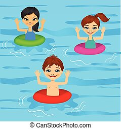 three cute little kids swimming - illustration of three cute...