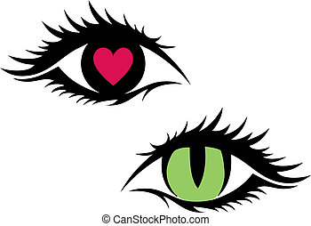 female eyes, vector - green cat eye and eye with red heart,...