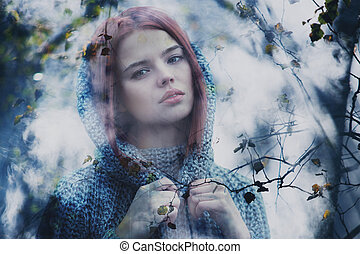 Misty portrait - Young calm woman outdoors misty portrait...