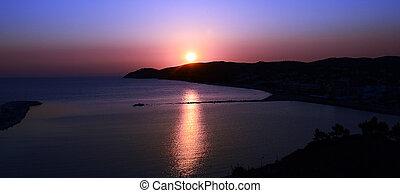 Limenaria town on sunset on island Thassos, Greece