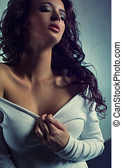Retrato, mulher, moda