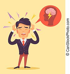 Man get headache. Vector flat illustration
