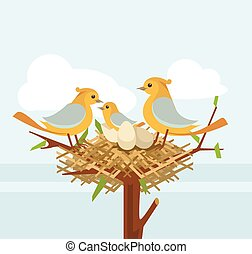 Bird nest on the tree branch with bird family. Vector flat...