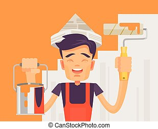 Construction worker. Vector flat illustration