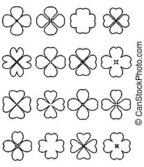 four leaf clover - Outline silhouettes of four leaf clover,...
