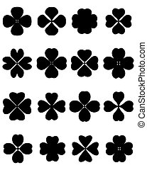 four leaf clover - Black silhouettes of four leaf clover,...