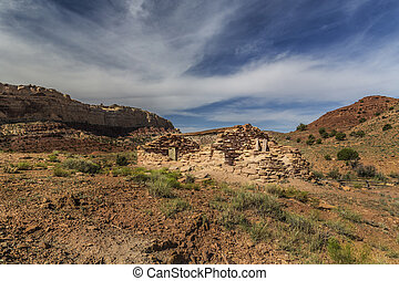 Miner Cabin at Abandoned Radium Mine in Utah - Stone miner...
