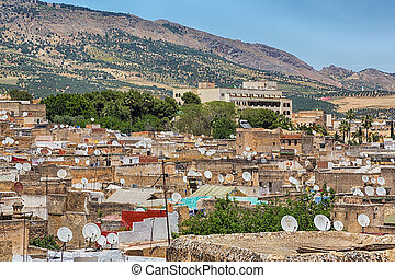Oriental city of Fes in Morocco - Fes with surrounding...