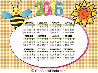 2016 bee and sunflower calendar for children in italian