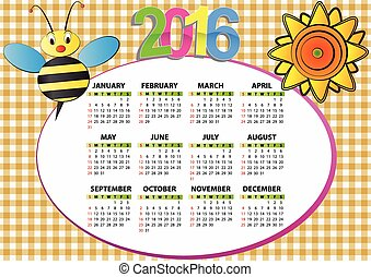 2016 bee and sunflower calendar for children