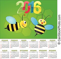 2016 bee calendar - illustration of 2016 calendar for...