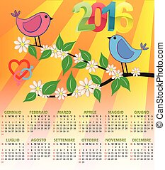 2016 bird calendar - illustration of 2016 calendar for...