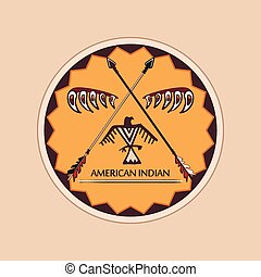 American indian emblems and labels. Wild West theme.