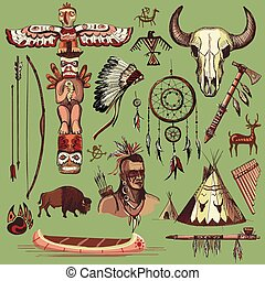 Collection of hand drawn wild west american indian icons...