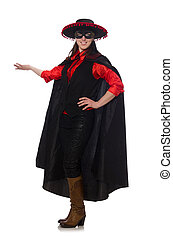 Girl in black and red carnival suit isolated on white