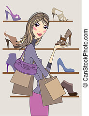 woman with shoes, vector - Fashion girl shopping in shoe...