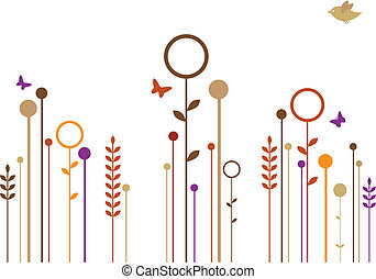 simple flowers, vector - abstract floral design, vector