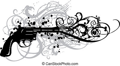 vintage gun, vector - vintage gun with grungy swirls, vector