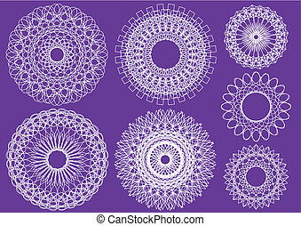 abstract circles - kaleidoscopic floral pattern design,...