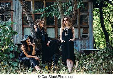 três, vindima, mulheres, como, bruxas,