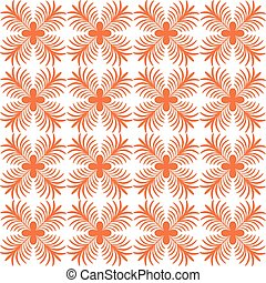 Stylized flower seamless pattern. Petals orange textile...