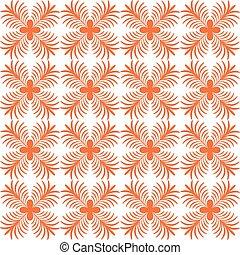 Stylized flower seamless pattern. Petals orange textile...