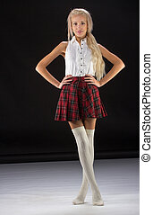 Lovely sexy girl in checkered short skirt - Lovely sexy...