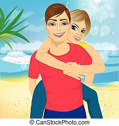 Happy couple in love on beach summer vacations Joyful blonde...