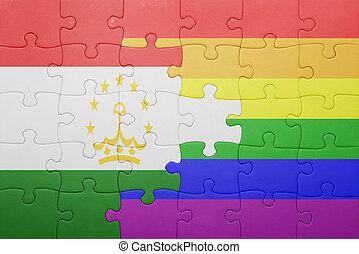 puzzle with the national flag of tajikistan and gay...