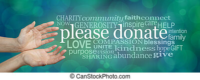 Fund raising word cloud banner - Please donate - wide banner...
