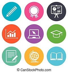 Education and study icon. Presentation signs. Report,...