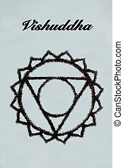 Vishuddha chakra.Isolated on light blue background