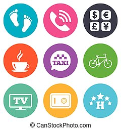 Hotel, apartment services icons Coffee sign Phone call,...
