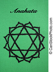 Anahata chakra.Isolated on green background