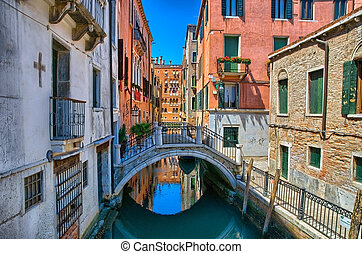 Canal with bridge in Venice, Italy, HDR