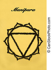 Manipura chakra.Isolated on yellow background