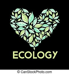 green sign leaves - Beautiful illustration of ecology green...