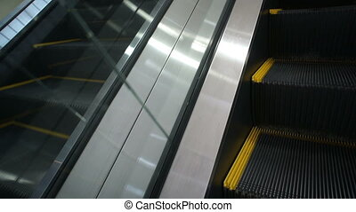 On Moving Escalator - Tight shot with no people on an...