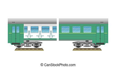 Suburban electric train. Inside and outside views. Vector...