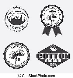 Cotton labels, stickers and emblems.