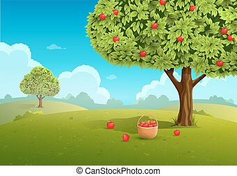 Apple orchard illustration - Apple orchard with basket of...