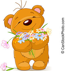 Teddy bear giving a bouquet - Cute little Teddy bear giving...