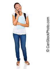 african college girl talking on mobile phone - happy african...