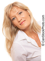 Portrait mature business woman isolated - Portrait of mature...