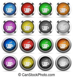 Coffee button set - Set of coffe glossy web buttons Arranged...