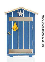 Blue beach hut isolated over white background
