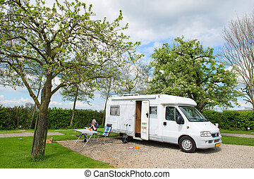 Travel by mobile home in spring